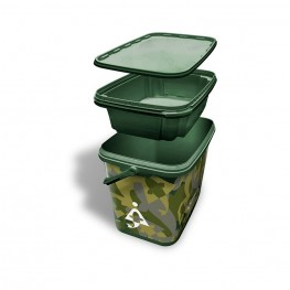 Bait-Tech Square Camo Bucket 8L, -baitshop