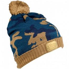 Ridgemonkey Camo Bobble Hat Brown-Blue, Ridgemonkey-baitshop